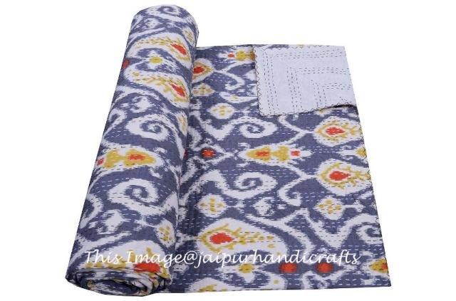 Indian Quilt Cotton Throw Floral Kantha Queen Gudari Blanket Bedspread Decor