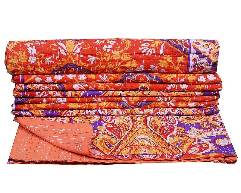Indian Twin Kantha QuiltsThrow Gudari Ralli Cotton Hand Reversible Bedspread