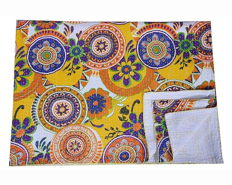 Indian Twin Size Kantha Handmade Quilt Throw Bedspread Blanket Ikat Gudari Decor