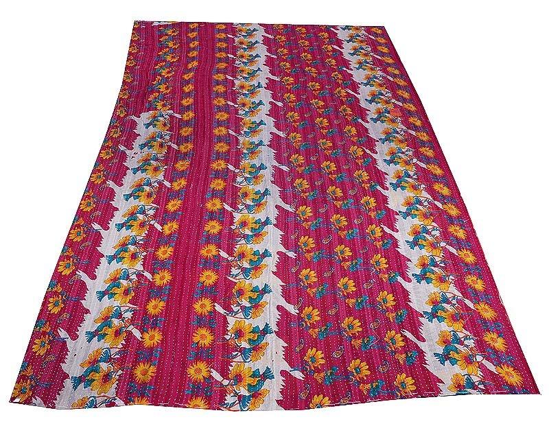 Indian Kantha GUDARI Quilt 100% Cotton Bedding Reversible Ikat Blanket Throw