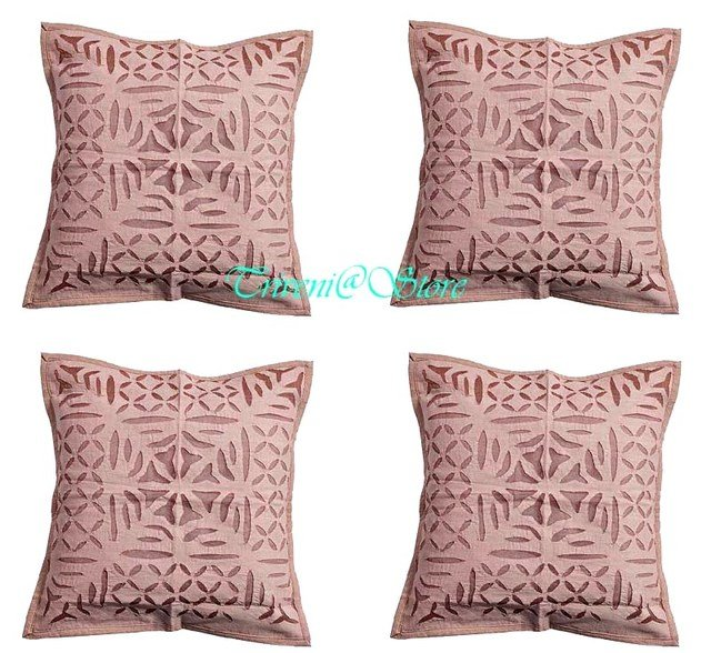 HANDMADE ORGANDI COLOUR WORK CASE CUSHION PILLOW COVER INDIAN HOME DECOR FINE