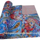 INDIAN KANTHA QUILT COTTON THROW REVERSIBLE BEDSPREAD RALLI GUDARI QUEEN SIZE