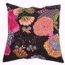 "16"" CUSHION INDIAN PILLOW COVERS BLACK KANTHA THREAD WORK ETHNIC DECORATIVE ART"