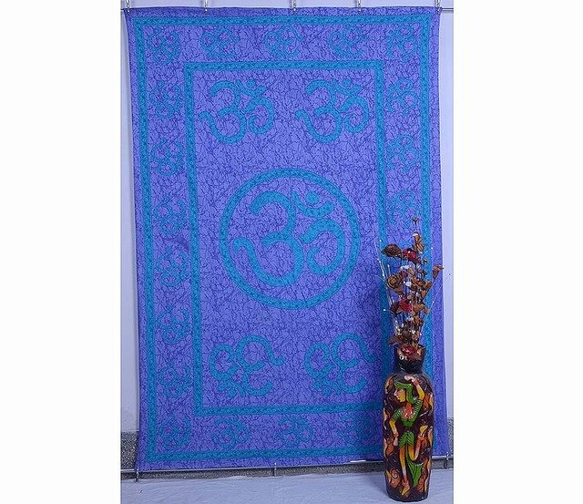 """Om"" Mandala Wall Hanging Indian Tapestry Hippie Bedspread Yoga Decor Curtain"