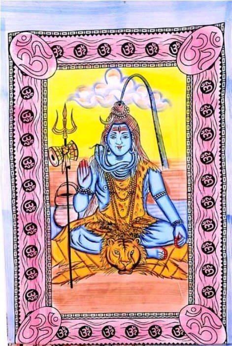 Indian Cotton Wall Hanging God Shiva Bed Sheet Bedspread Tapestry Home Decor