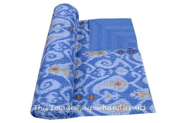 Indian Ikat Kantha Quilt Cotton Throw Queen Blanket Bedspread Gudari Decor