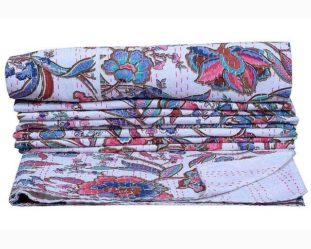 Indian Kantha Quilt Twin Handmade Bedspread Quilt Decor Reversible Gudari Floral