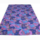 Indian Nice Kantha Quilt Twin Bedspread Bedding Floral Throw Reversible Gudari
