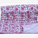 Indian Floral Twin Kantha Quilt Reversible Blanket Throw Bedspread Ralli Gudari