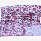 Indian Floral Twin Kantha Quilt Reversible Blanket Throw Bedspread Ralli Gudari