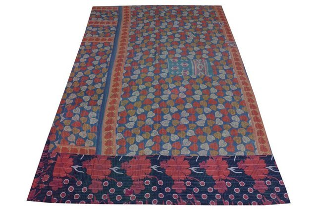 Indian Kantha Quilt Cotton Reversible Vintage Bedspread Blanket Throw Gudari