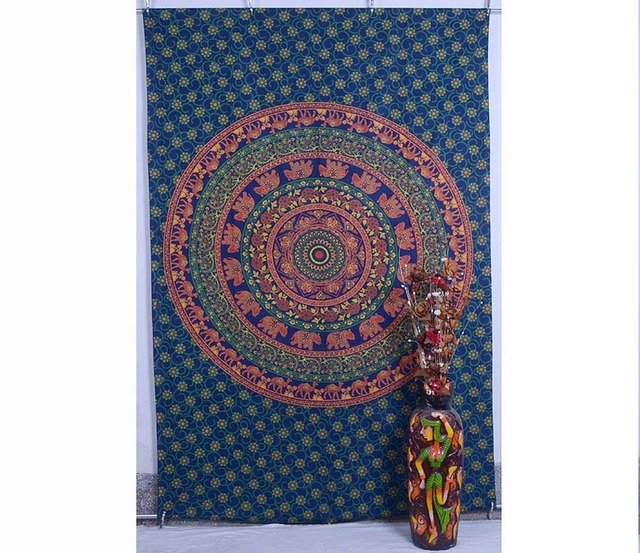 Elephant Mandala Psychedelic Hippie Wall Hanging Tapestry Throw Ethnic Indian
