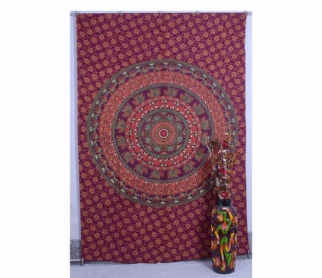 Indian Elephant&Camel Mandala Boho Bedspread Table cover Wall Hanging Tapestry