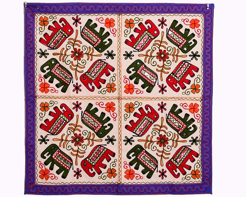 """34"" INDIAN ELEPHANT WALL HANGING HAND EMBROIDERED ETHNIC TAPESTRY TABLE COVER"