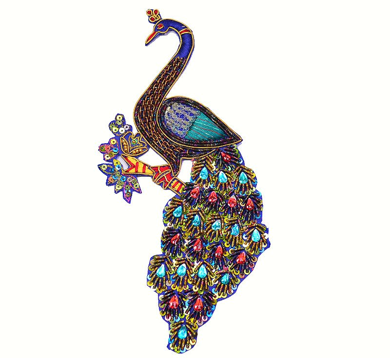 Indian Rhinestone Peacock Hand-Beaded Applique, Large Peacock Indian Applique.