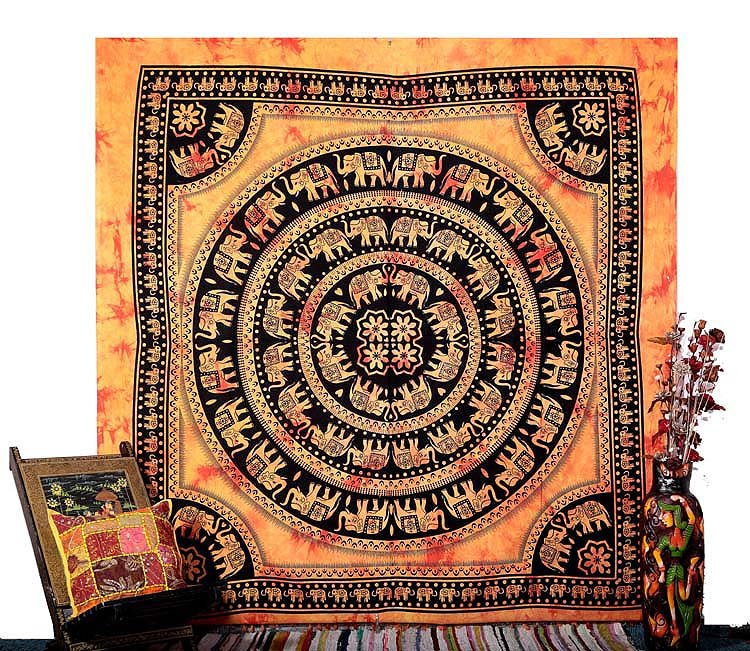 INDIAN QUEEN MULTI ELEPHANT COVERLET BEDSPREAD WALL HANGING HOME DECOR TAPESTRY