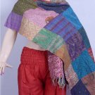 Indian Beautiful Shawl Handmade Sari Silk Shawl / Scarf / Wraps Kantha Designer