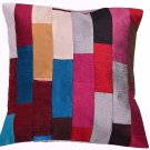 "16X16"" LUXURY SILK PILLOW,MULTI ,PATCHWORK MODERN CUSHION COVER , HOME DECOR ART"