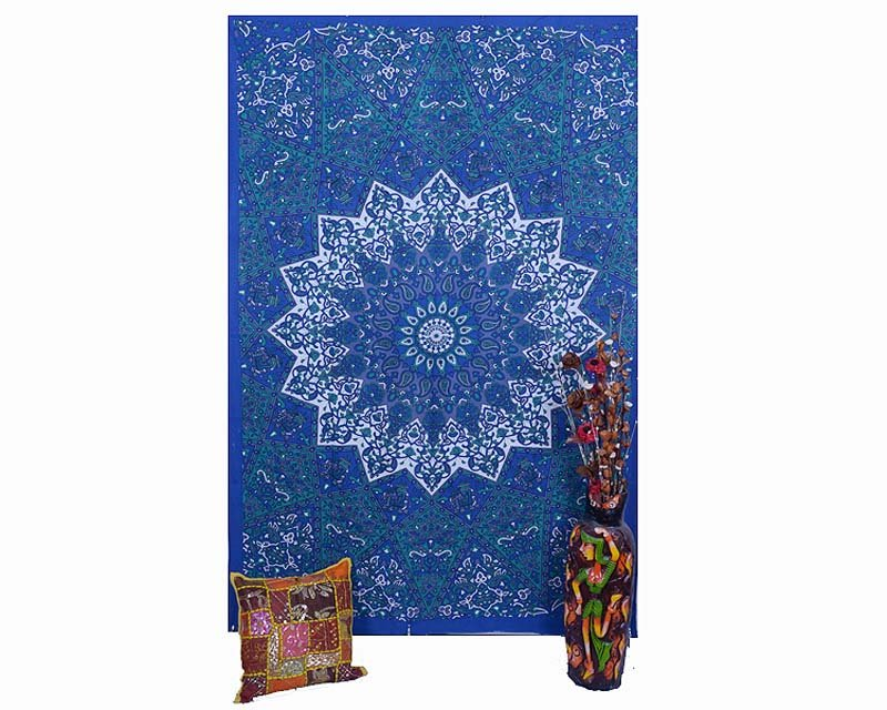 INDIAN  STARTWIN WALL HANGING MANDALA COTTON BEDSPREAD TAPESTRY BEDSHEET  DECOR