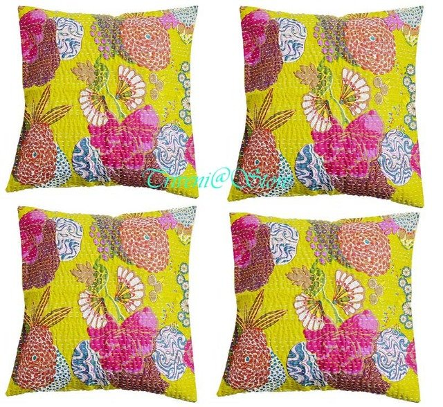 """16"""" Indian Handmade Traditional Kantha Cushion Cover Ethnic Home Decor -2927"""