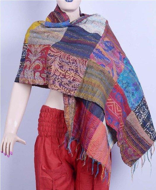 Indian Handmade Silk Patchwork Kantha Shawl / Scarves Reversible Shawl Indian