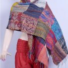 Indian Handmade Silk Patchwork Kantha Shawl / Scarves Reversible Shawl Indian