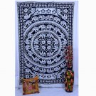 INDIAN TWIN ELEPHANT COTTON TAPESTRY MANDALA BEDSPREAD WALL HANGING TABLE RUNNER