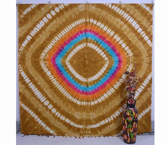 INDIAN QUEEN BLANKET BEDSPREAD TIE& DYE PEACE SIGN TAPESTRY  WALL HANGING DECOR
