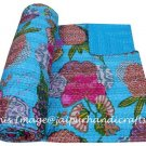 Indian Queen Kantha Quilt Throw Bedspread Bedding Blanket Reversible Gudari