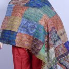 INDIAN PURE SILK HAND QUILTED KANTHA BEST REVERSIBLE SHAWL STOLE HIJAB SCARF ART