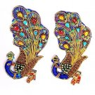 Hand-Beaded Appliques. 2 Brilliant Peacocks Indian Appliques Sew On Patch Badge.