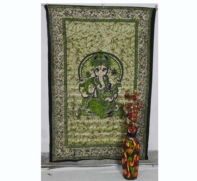 """Indian Twin """"Ganesha"""" Bedspread Tapestry Wall Hanging Bed sheet Home Decor Throw"""