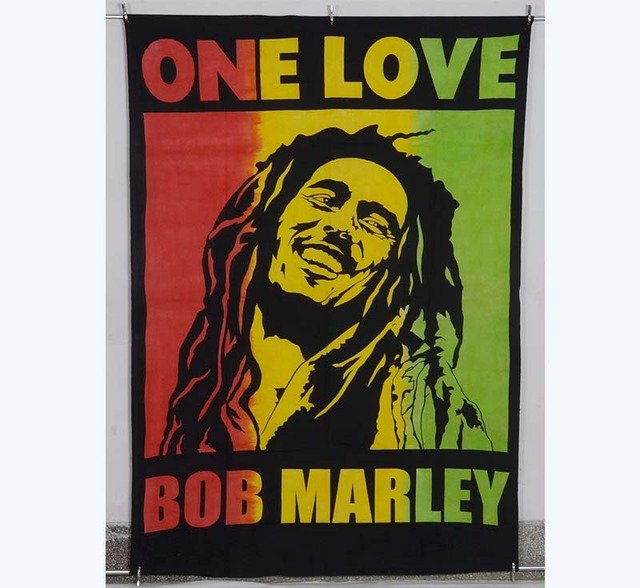 Indian Nice One Love Tapestry Wall Hanging Bob Marley Poster CottonTextile Flag