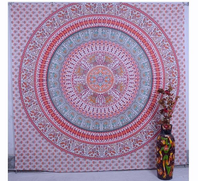 Indian Bird&Elephant Mandala Bohemian TableCloth Bedspread Wall Hanging Tapestry