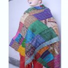 Beautiful Handmade Indian Silk Shawl / Scarf / Wraps Handmade Sari Kantha Shawl