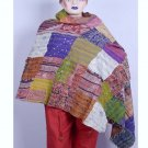 Indian Beautiful Handmade Sari Silk Shawl / Scarf / Wraps Kantha Handmade Shawl