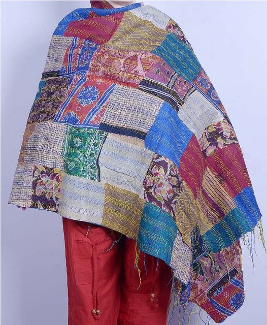 Indian Handmade Silk Patchwork Kantha Shawl / Scarve Reversible Indian Shawl