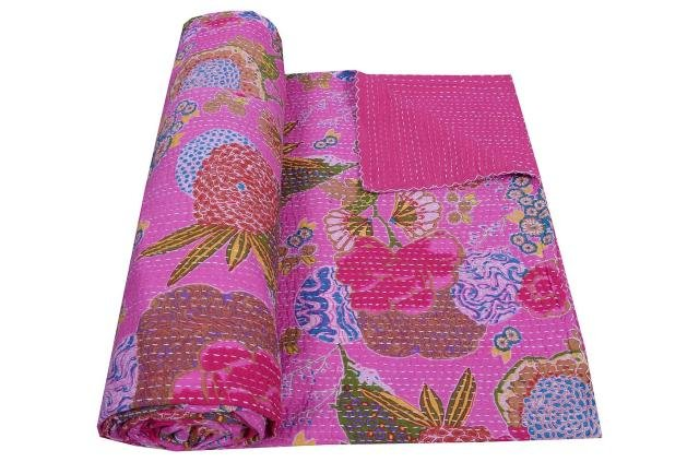 INDIAN KANTHA QUILT COTTON RALLI REVERSIBLE THROW BEDSPREAD FRUIT PRINT GUDARI