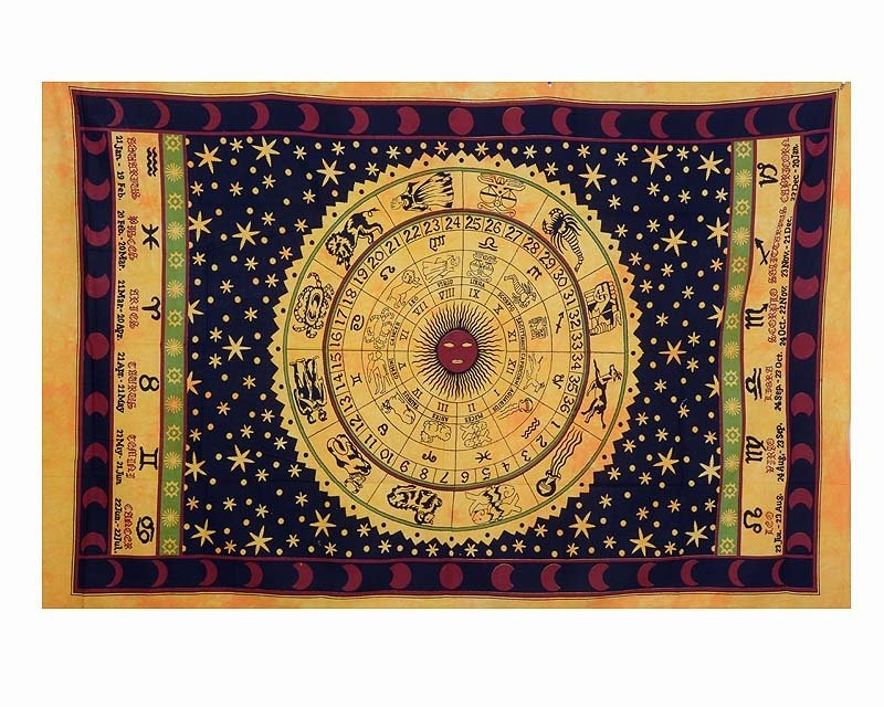 Indian Horoscope Zodiac Astrology Twin Wall Hanging Tapestry Hippie Bedsheet Art