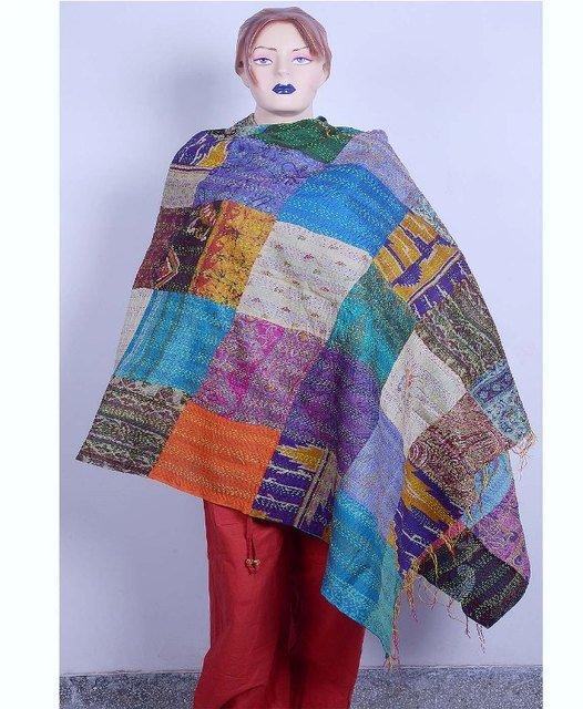 Beautiful Handmade Indian Sari Silk Shawl Designer Shawl / Scarf / Wraps Kantha