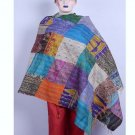 Beautiful Handmade Indian Sari Silk Shawl Designer Shawl / Scarf / Wraps Kantha