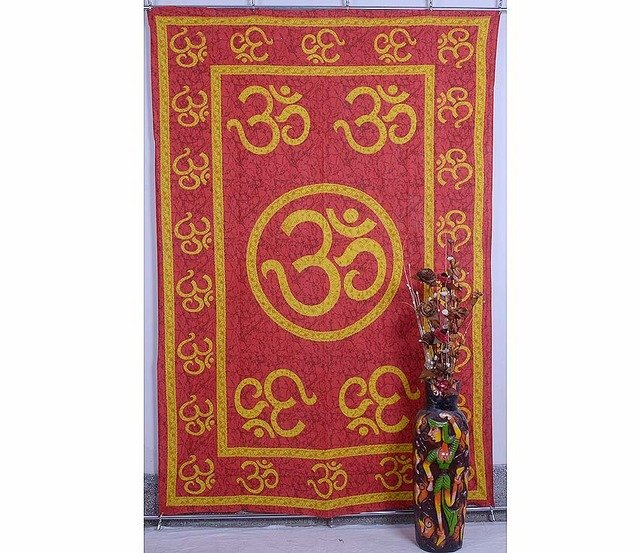 """Indian Red Wall Hanging Tapestries Maditation Hippie Bedspread """"Om Mandala"""" Yoga"""