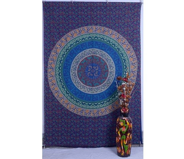 Indian Twin Mandala Tapestry Hippy Bedspread Wall Hanging Table cover Home Decor