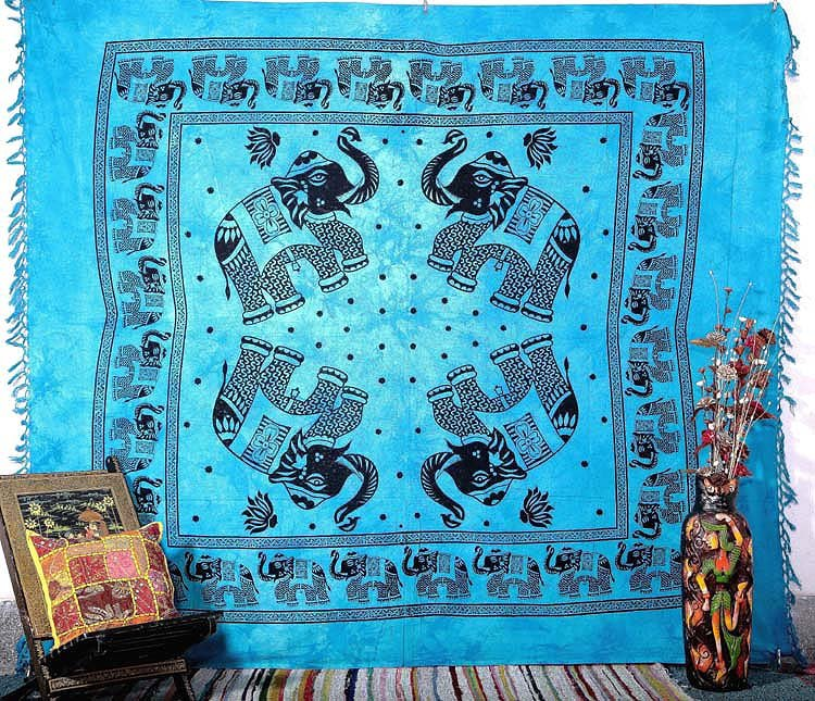 INDIAN BLUE ELEPHANT COVERLET QUEEN BEDSPREAD WALL HANGING TAPESTRY DECORATIVE