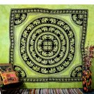 INDIAN GREEN ELEPHANT COVERLET BEDSPREAD WALL HANGING TAPESTRY Blanket Decor