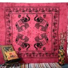 INDIAN PINK ELEPHANT COVERLET BEDSPREAD WALL HANGING FLORAL TAPESTRY DECORATIVE