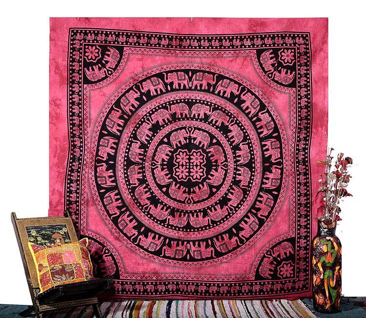 QUEEN PINK ELEPHANT COVERLET BEDSPREAD WALL HANGING TAPESTRY Blanket Home Decor