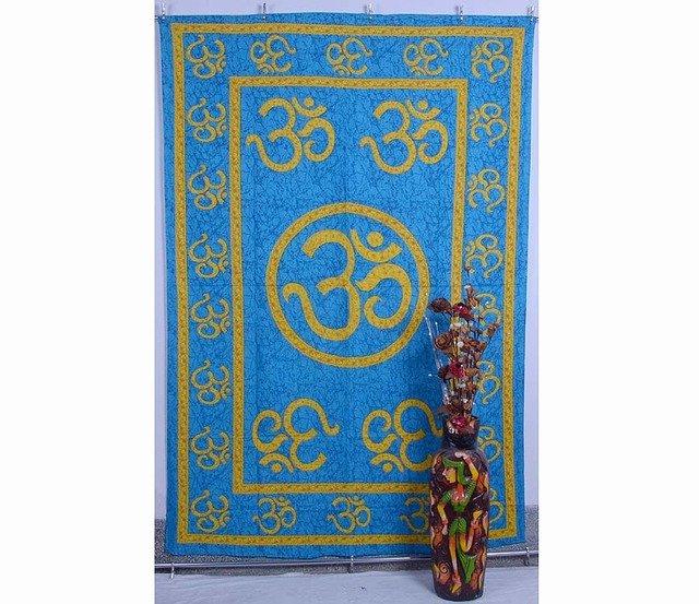 Indian Mandala Om Blue Wall Hanging Tapestries Maditation Hippie Bedspread Yoga