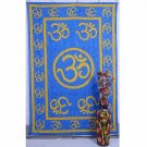 Indian Blue Wall Hanging Tapestries Maditation Hippie Bedspread Om Mandala Yoga