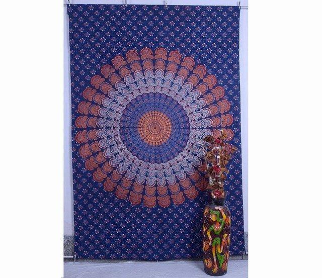 Indian Beautiful Peacock Mandala Hippe Hop Bedspread Twin Wall Hanging Tapestry
